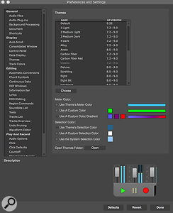 Just below the Themes chooser are the Meter Color and Selection Color controls,  which use a  standard colour picker to choose custom colours.