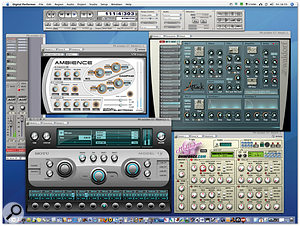 DP supports the broadest range of plug-in formats of any Mac-based DAW. Pictured here are a MAS and Audio Unit Instrument with AU and VST effects processors.