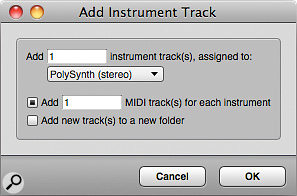 The Add Instruments dialogue box in DP is by far the most convenient way to instantiate virtual instruments and create MIDI tracks to drive them.