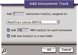 The Add Instruments command simultaneously instantiates a virtual instrument on a new Instrument track and creates any number of correctly assigned MIDI tracks , which is potentially a huge time saver.