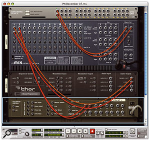 The rear of Reason's rack makes it clear how the Thor and NNXT in this example are submixed in the Remix mixer. This then feeds into the Hardware Interface, which is Reason's side of the Rewire audio link.