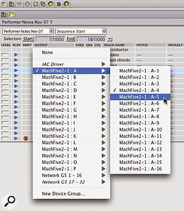 A single MachFive 2 can be driven by 256 MIDI channels, so DP's MIDI output pop-ups grow accordingly...