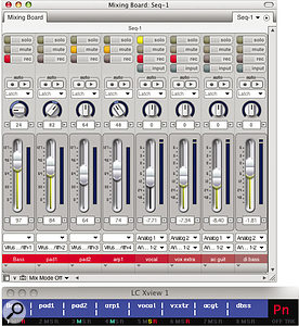The $20 LC Xview application displays Mackie Control‑like track information for owners of control surfaces such as Behringer's BCF2000. Here its window is shown beneath DP's Mixing Board.