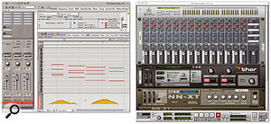 Reason and Digital Performer make a tremendous combination and are easy to use together. This setup, described in the main text, has DP driving a synth and sampler in Reason, and took just moments to set up.