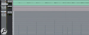Here, DRT has generated a MIDI part (below) to match kick and snare hits in the overhead track above.