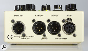 The rear panel of the main preamp unit hosts the audio I/O, including both pre- and post-compressor outputs.