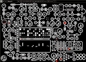 Part of the point of Justin's Okkam 01 instrument is that its interface can be projected to add visual interest to a  performance. This patch is called 'Aphex Beat Man'.