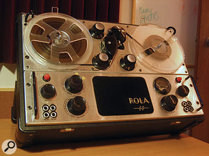The Rola tape recorder, with built–in radio and loudspeaker, was used on a  number of tracks on the album.