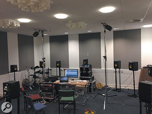 The programming setup, with a  scaled-down version of the surround system that was to be used on the night.