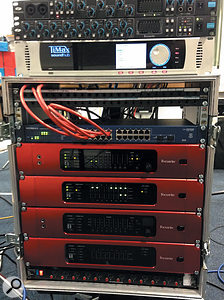 The TiMax unit at the top of this rack was used to apply the required delays to all 16 speaker outputs.