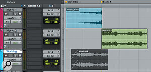 The first screen shows how a musical intro has been created. Note how one piece obviously builds and abruptly cuts off where the second, more obviously rhythmic piece takes over when the on-screen action ramps up. The second is an outro edit, which is similar in principle, but this time there's overlap between the two clips. In both cases, the lowest 'working track' has been used before copying the clips to the music tracks.