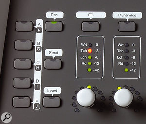 The 003 features separate metering and LED 'ring' position indicators on each channel.