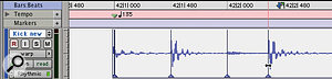 Switching to Warp Mode allows you to place Warp Markers. This example shows what Digidesign call a 'range warp', where audio between two fixed points is stretched by clicking and dragging with the Grabber tool.