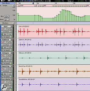 At last it's possible to create realistic tapestyle varispeed in Pro Tools, by switching tracks to Varispeed mode and editing the tempo map.