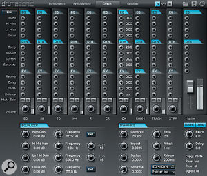 Luxury's effects page allows control of EQ, dynamics and effects.