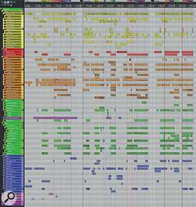 Here's a composite screengrab showing Mike's Reaper stem-mixing project, with all three sections of Dom's music visible. The gaps you can see between the sections were closed once Dom re‑imported Mike's mixed stems back into his Cubase system for final tweaks. A high resolution version of this is available to download in the righthand sidebar ZIP file.