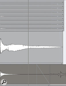 Here, fades have been used to tidy up the end of a Cubase Project. Note the use of different fades on different parts.
