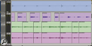 In this Pro Tools Session, I've tried to edit electric and acoustic guitars to improve their timing. As you can see, guitar strumming lacks the clear initial transients of drum hits or bass notes, and because notes fall inside the bar, edits are not just on the beat. Note that the two mics on the acoustic (bottom) have been made into an Edit Group so that the same edits are applied to both, to avoid phase problems.