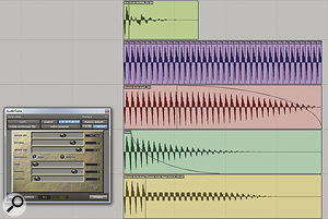 Using audio editing and offline processing to create a synth bass sound from a kick-drum sample. I have first cut out a single waveform cycle (topmost track). Then I've looped it (second track) to create a pitched buzz, and applied two separate fades (third and fourth tracks). Finally, I've applied Avid's Lo‑Fi plug‑in to just the tail of the resulting sample (bottom track). Now I have a punchy, slightly metallic synth bass that could be loaded into a sampler and played.