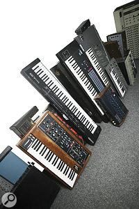 At West Heath, equipment that would take centre stage in many studios often just seems to be lying around, like this small selection of vintage keyboards!