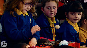 Concentrating really hard on the all-important glockenspiel part...
