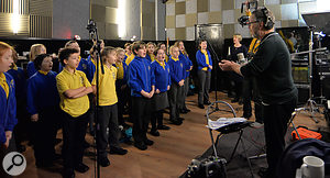 School in the studio: recording overdubs in the live room, with Geoff Lawrence orchestrating.
