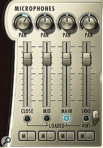 Hollywood Brass' microphone mixer. Blue lights under each fader indicate which mic positions are loaded.
