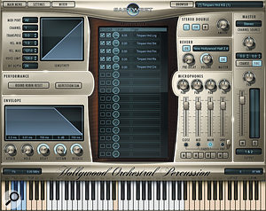 Featuring a  five-channel microphone mixer and onboard convolution reverb, Hollywood Orchestral Percussion's user interface uses the same design as EastWest's other Hollywood libraries. White keys show the position of mapped samples, with keyswitches marked in blue.