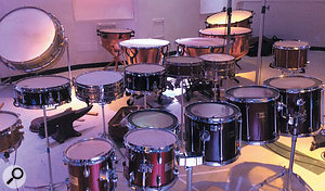 Hollywood Orchestral Percussion's drum section features (front row) concert toms, (middle row) orchestral snare and field drums, (back row L-R) orchestral bass drum and timpani.