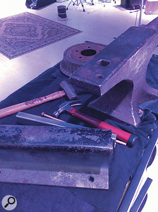 Heavy metal: anvils, brake drum and railway tracks, with some serious-looking hammers.