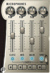 Play's microphone mixer has pan and volume controls for four mic channels — the fourth channel toggles between Surround and Vintage mics.