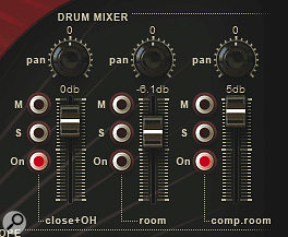 New in MOR2, adedicated drum mixer withcontrols for dry, room and compressed roomsignals.
