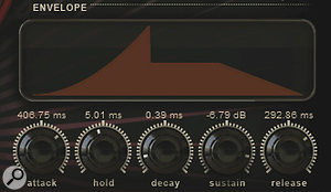 Play's five‑stage AHDSR envelope for dynamic shaping. Alow‑pass resonant filter is also available.