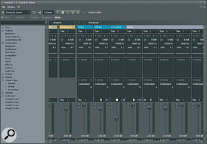 Like most audio recording packages, EnergyXT has a virtual mixer page modelled loosely after a conventional analogue mixer.