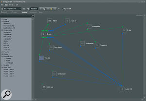 The Modular view within EnergyXT is more unusual, and allows you to chain effects and instruments together to create complex processing modules.