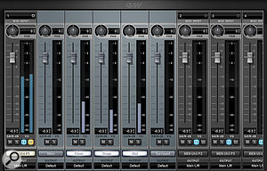 The Mixer page, with the microphone submixer revealed. Adjustments to volume and pan will be duplicated across all channels when a WordBuilder Multi is loaded.
