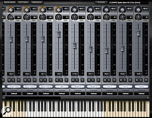 The right end of the virtual mixer includes all the additional room mic channels that can be used to provide some natural ambience to your kit.