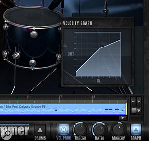 The Vel Proc section provides a  sort of 'MIDI velocity compressor' for adjusting the dynamics of the MIDI patterns.