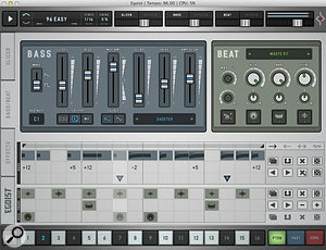 This page allows you to tweak bass and drum sounds and their step–sequencer patterns.