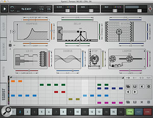 The Effects page offers a  'mini–Effectrix', with seven effects that can be step–sequenced within the pattern.