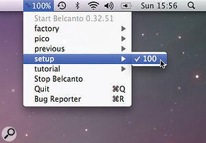 Overall Eigenharp configurations, known as setups, can be loaded from an OS X menu bar pop‑up menu.