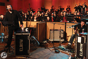 To try to keep stage volumes controllable, guitar amps were turned down as much as possible and screened from the orchestra, while singer Guy Garvey and the rest of the band used in‑ear monitors.