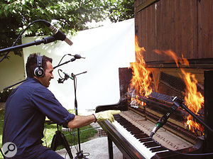 Spectrasonics Sound Designer Diego Stocco sampling the infamous 'Burning Piano' for Omnisphere. You only get one take!