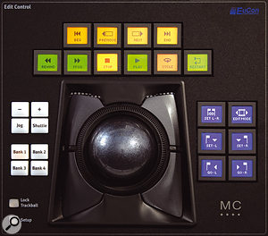 The trackball and shuttle wheel feature identical layouts of assignable controls. These use Euphonix's smart switches, which are at the core of the MC Pro's power and flexibility.