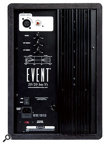 The 20/20 BAS's rear panel hosts the balanced and unbalanced inputs, and controls for input gain and high- and low-frequency shelving.