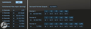 The Surround Formats window allows you to assign outputs for up to nine audio channels.