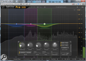 Pro-MB makes it easy to visualise what's happening to your audio, both through the animated lines showing gain reduction and the spectrum analyser, which shows the signal before (solid grey) and after (grey line) compression.