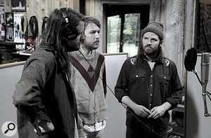 Josh Tillman, Robin Pecknold and Christian Wargo record harmony vocals around asingle microphone: in practice, most of their harmonies were overdubbed individually.