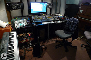 Estudios Koolarrow is arranged as a single large space, with Bill Gould's production and recording tools set up at one end. Chief among these are his SSL Matrix mixer and ASC Attack Wall configurable acoustic treatment; also prominent in this shot is the Kemper Profiling Amp used for some guitar sounds on the album.