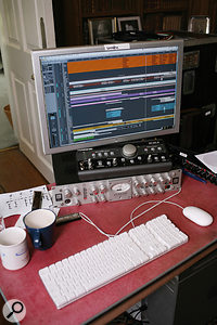 The band are advocates of Avalon preamps for vocals. These feed Digidesign recording hardware, on a  Mac running Logic.